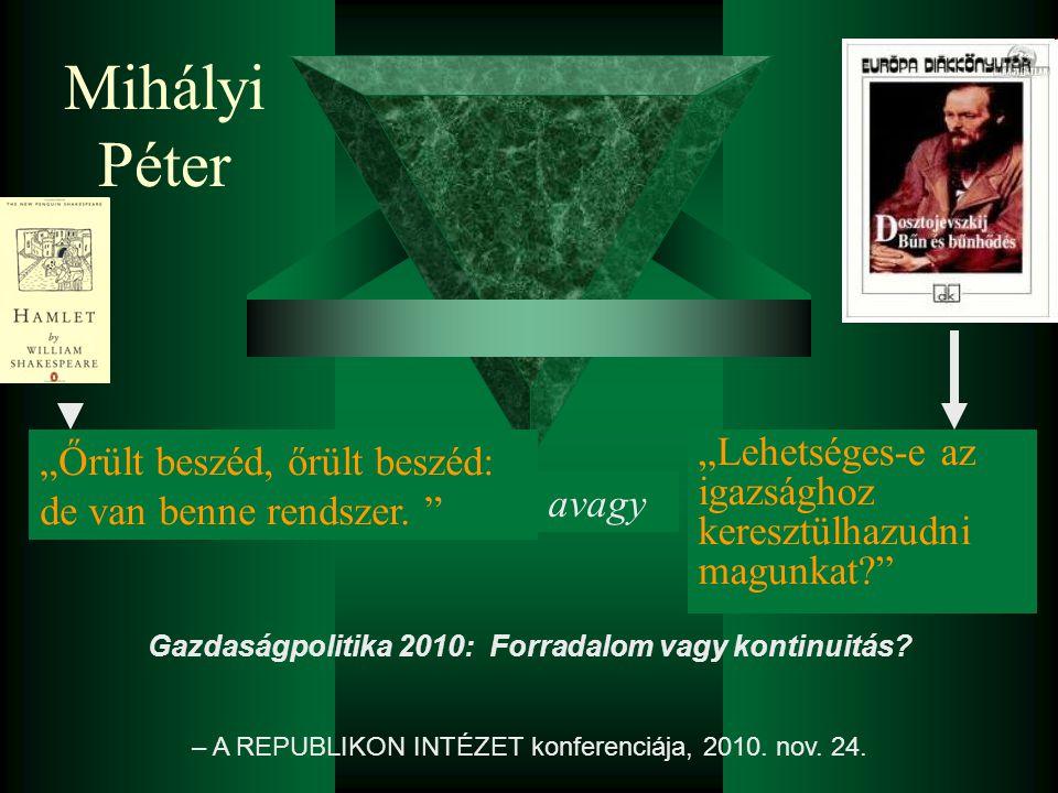 """Mihályi Péter """"Lehetséges-e az igazsághoz keresztülhazudni magunkat? Gazdaságpolitika 2010: Forradalom vagy kontinuitás."""