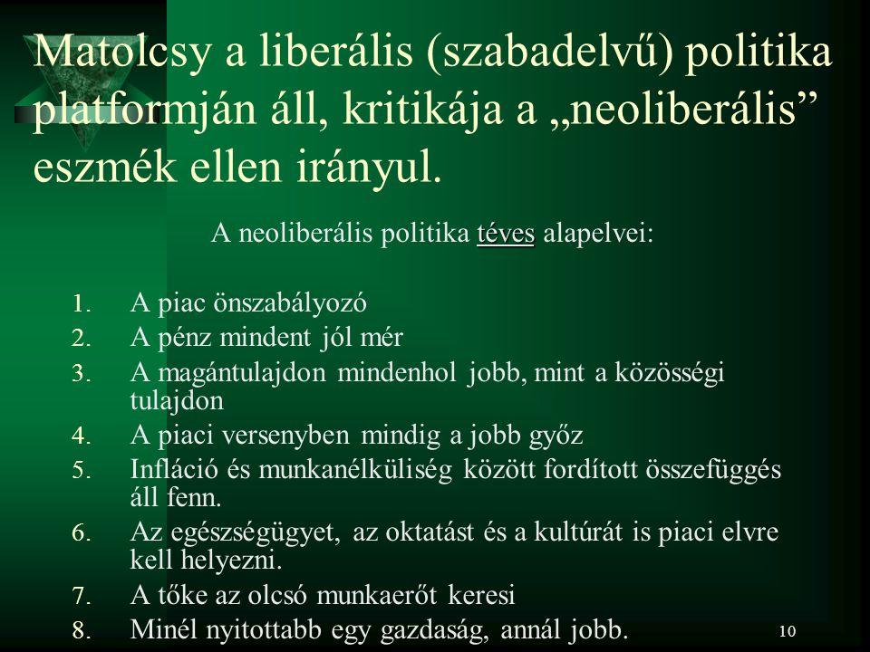 """10 Matolcsy a liberális (szabadelvű) politika platformján áll, kritikája a """"neoliberális eszmék ellen irányul."""