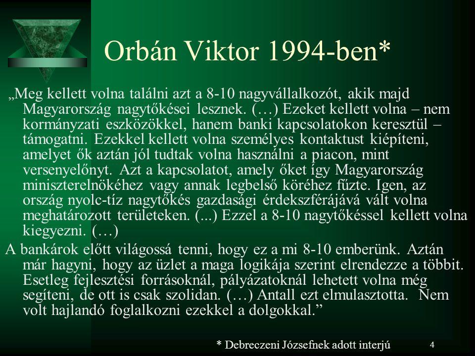 """4 Orbán Viktor 1994-ben* """" Meg kellett volna találni azt a 8-10 nagyvállalkozót, akik majd Magyarország nagytőkései lesznek."""