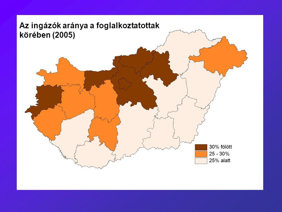 Az ingázók aránya a foglalkoztatottak körében (2005)