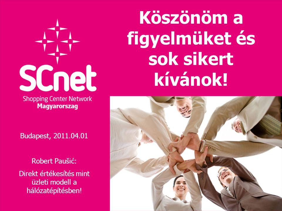 Köszönöm a figyelmüket és sok sikert kívánok! Budapest, 2011.04.01 Robert Paušić: Direkt értékesítés mint üzleti modell a hálózatépítésben!