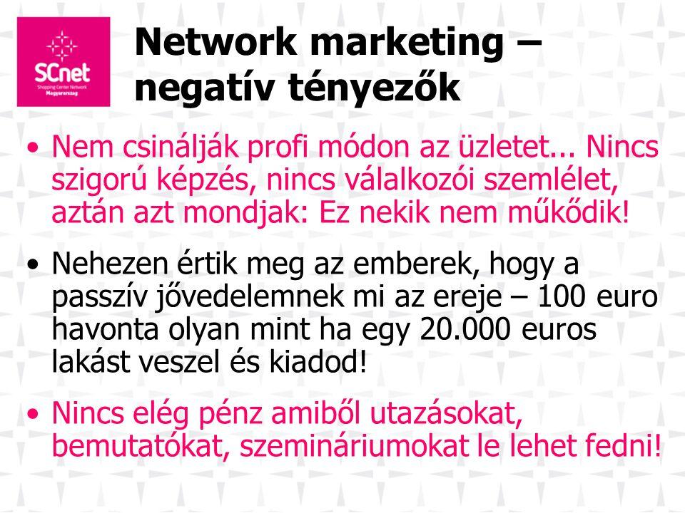 Network marketing – negatív tényezők Nem csinálják profi módon az üzletet... Nincs szigorú képzés, nincs válalkozói szemlélet, aztán azt mondjak: Ez n