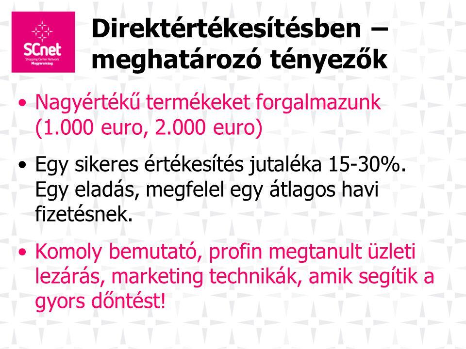 Direktértékesítésben – meghatározó tényezők Nagyértékű termékeket forgalmazunk (1.000 euro, 2.000 euro) Egy sikeres értékesítés jutaléka 15-30%. Egy e