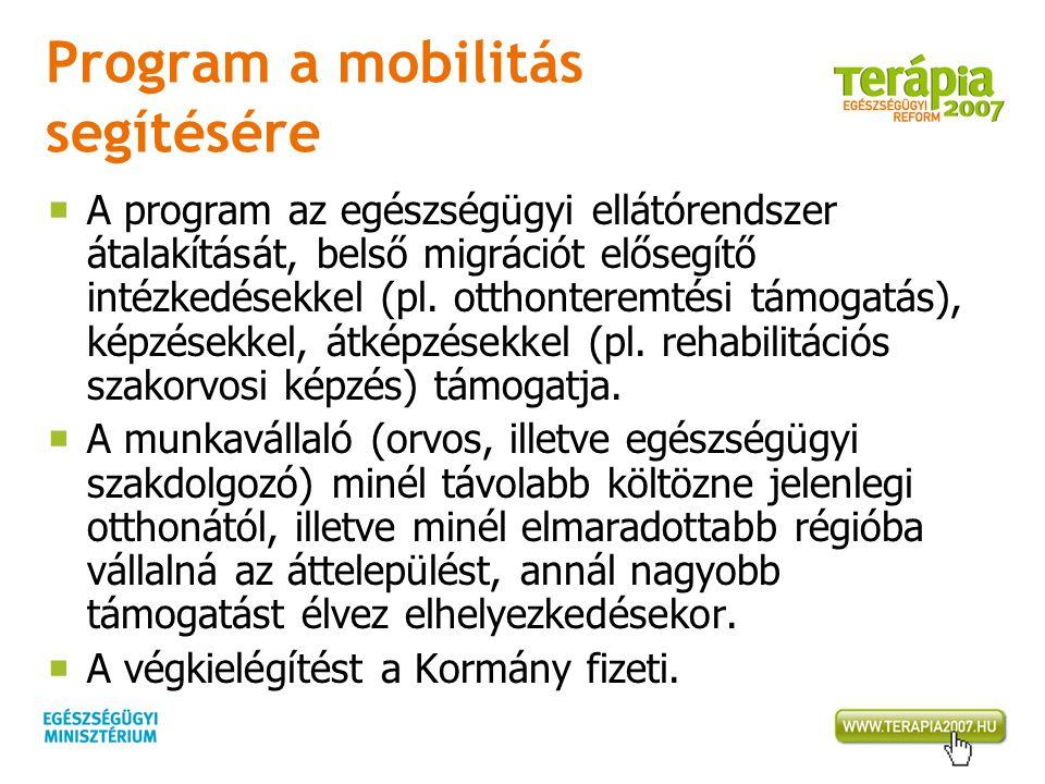 Program a mobilitás segítésére  A program az egészségügyi ellátórendszer átalakítását, belső migrációt elősegítő intézkedésekkel (pl.