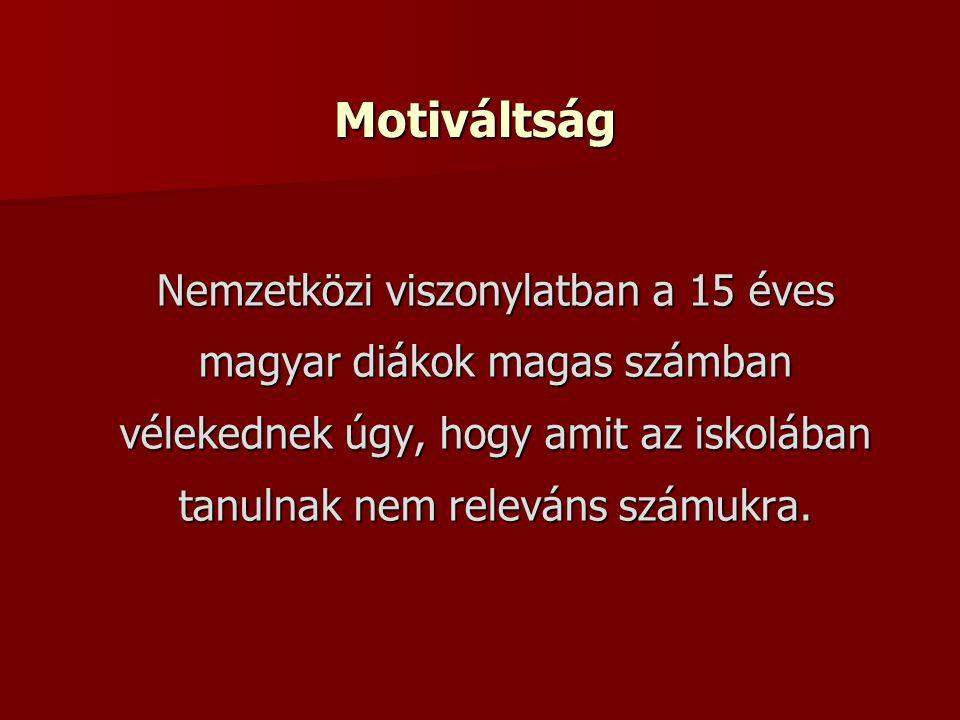 Motiváltság Nemzetközi viszonylatban a 15 éves magyar diákok magas számban vélekednek úgy, hogy amit az iskolában tanulnak nem releváns számukra.