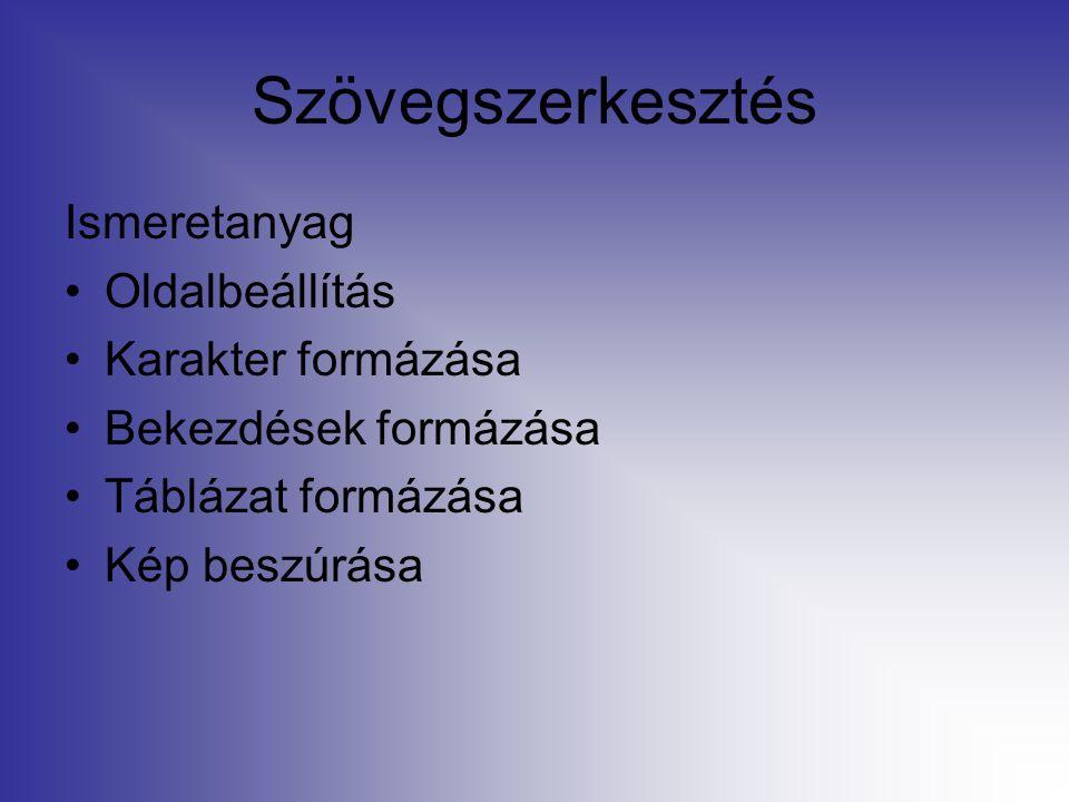 Szövegszerkesztés Ismeretanyag Oldalbeállítás Karakter formázása Bekezdések formázása Táblázat formázása Kép beszúrása