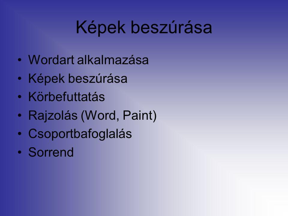Képek beszúrása Wordart alkalmazása Képek beszúrása Körbefuttatás Rajzolás (Word, Paint) Csoportbafoglalás Sorrend