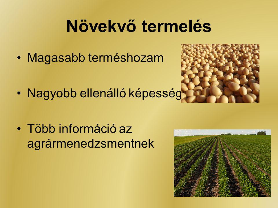 Növekvő termelés Magasabb terméshozam Nagyobb ellenálló képesség Több információ az agrármenedzsmentnek