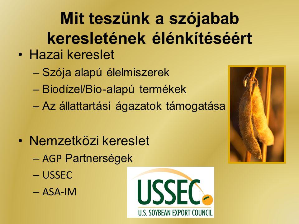 Mit teszünk a szójabab keresletének élénkítéséért Hazai kereslet –Szója alapú élelmiszerek –Biodízel/Bio-alapú termékek –Az állattartási ágazatok támo