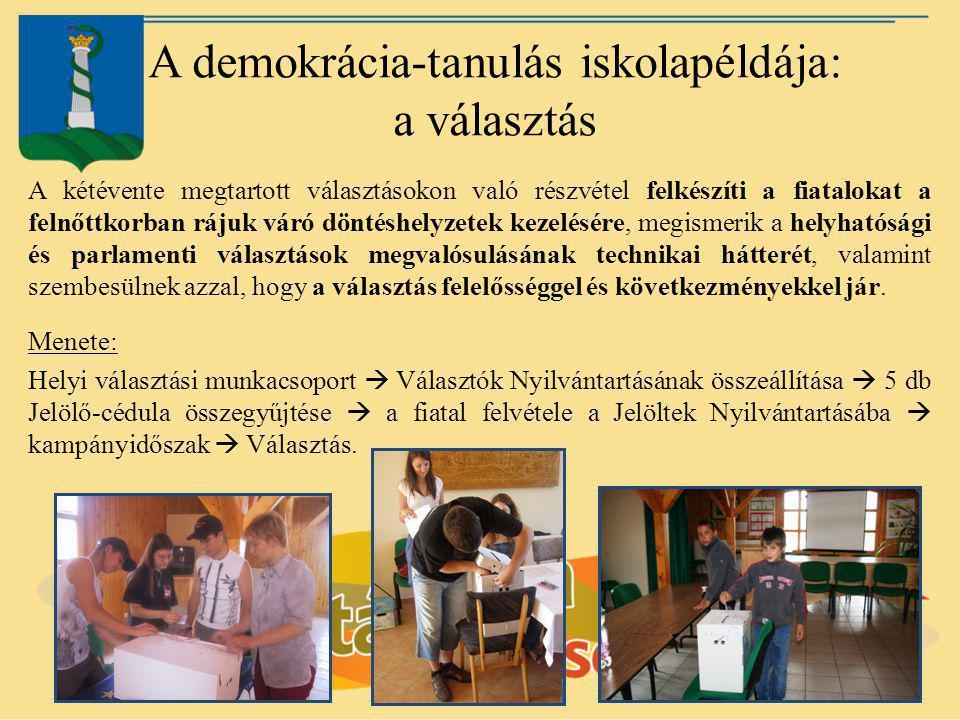 A demokrácia-tanulás iskolapéldája: a választás A kétévente megtartott választásokon való részvétel felkészíti a fiatalokat a felnőttkorban rájuk váró