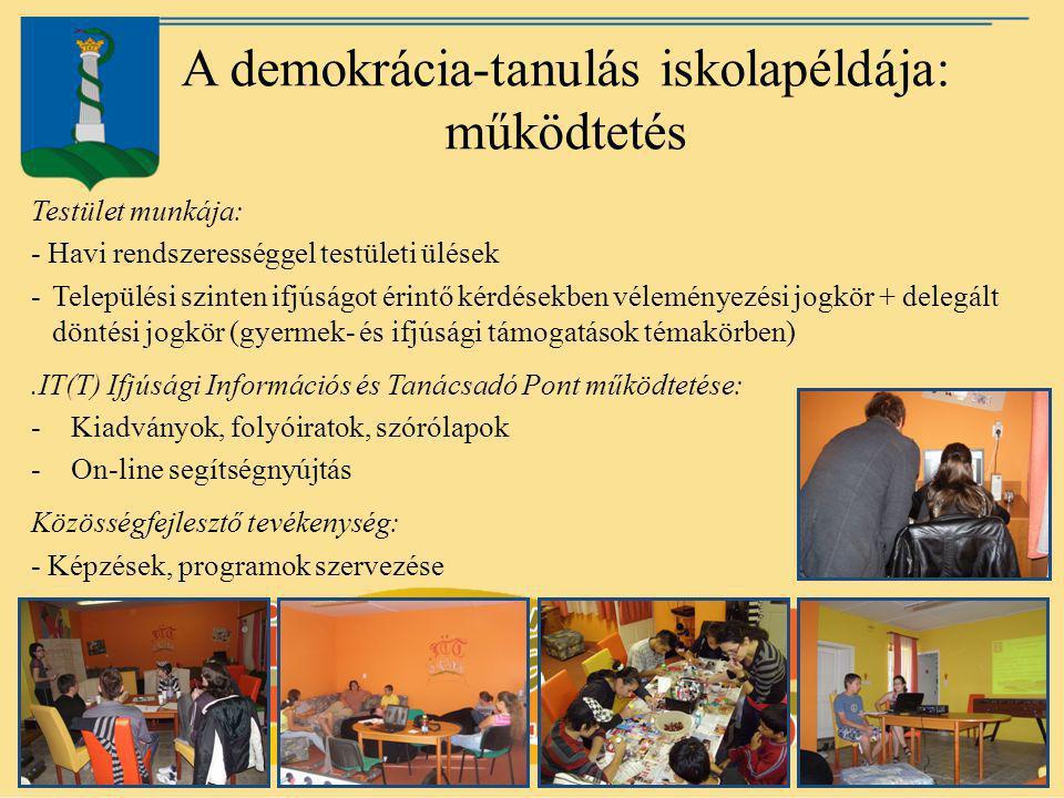 A demokrácia-tanulás iskolapéldája: működtetés Testület munkája: - Havi rendszerességgel testületi ülések -Települési szinten ifjúságot érintő kérdése