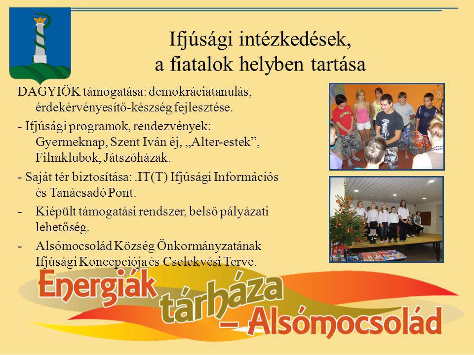 Ifjúsági intézkedések, a fiatalok helyben tartása DAGYIÖK támogatása: demokráciatanulás, érdekérvényesítő-készség fejlesztése. - Ifjúsági programok, r