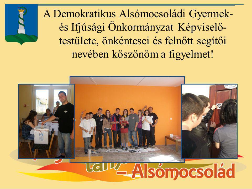 A Demokratikus Alsómocsoládi Gyermek- és Ifjúsági Önkormányzat Képviselő- testülete, önkéntesei és felnőtt segítői nevében köszönöm a figyelmet!