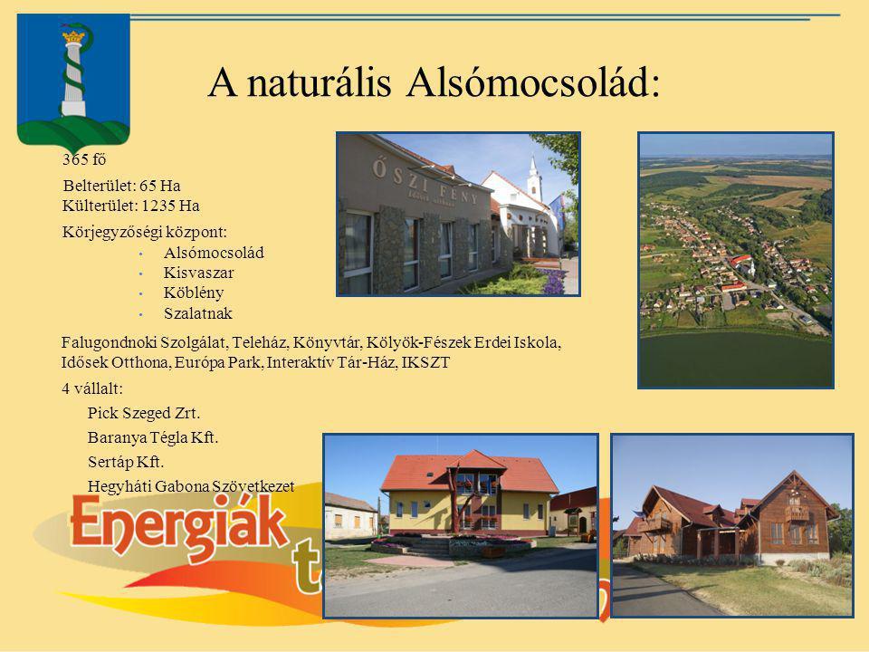 A naturális Alsómocsolád: 365 fő Belterület: 65 Ha Külterület: 1235 Ha Körjegyzőségi központ: Alsómocsolád Kisvaszar Köblény Szalatnak Falugondnoki Sz
