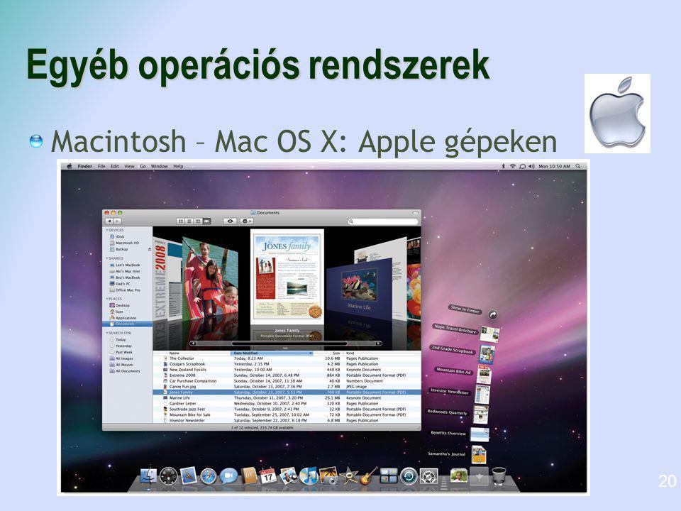 Egyéb operációs rendszerek Macintosh – Mac OS X: Apple gépeken 20