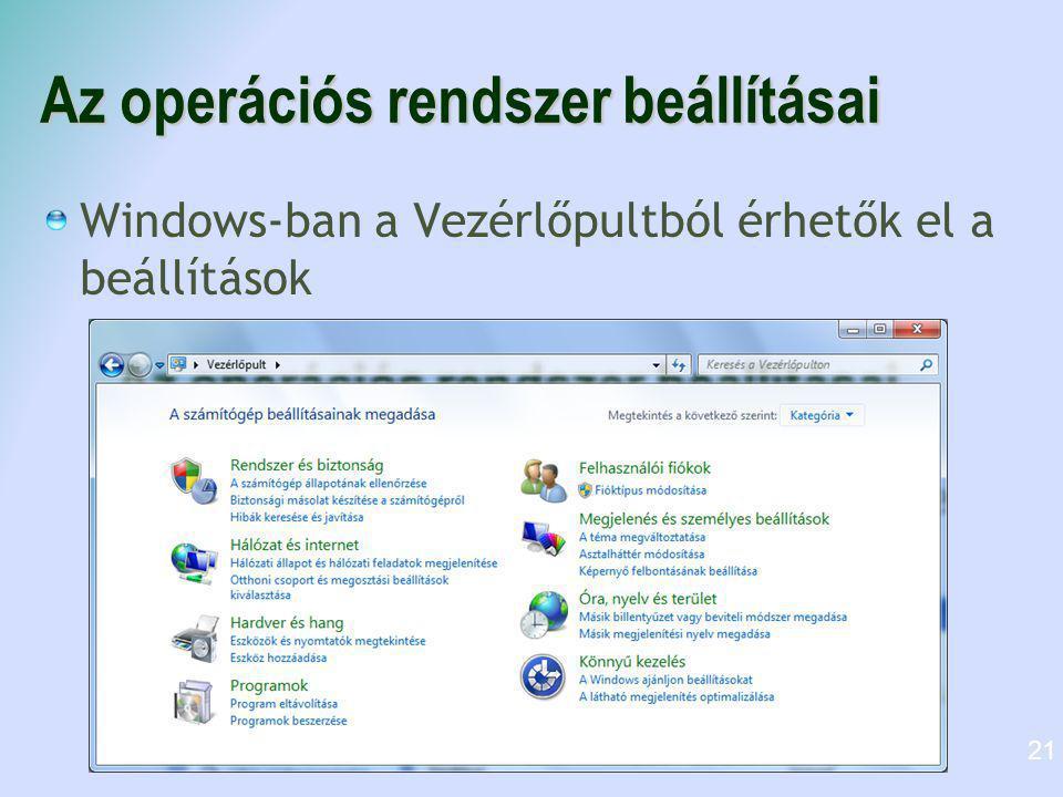 Az operációs rendszer beállításai Windows-ban a Vezérlőpultból érhetők el a beállítások 21