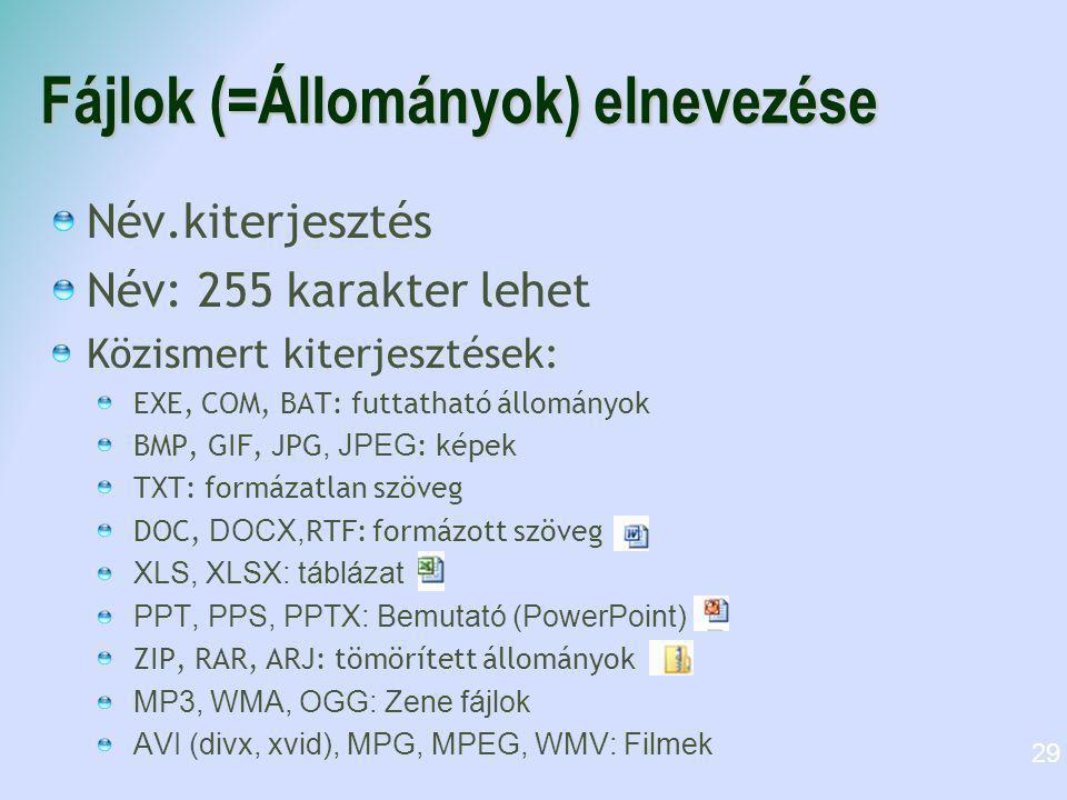 Fájlok (=Állományok) elnevezése Név.kiterjesztés Név: 255 karakter lehet Közismert kiterjesztések: EXE, COM, BAT: futtatható állományok BMP, GIF, JPG,