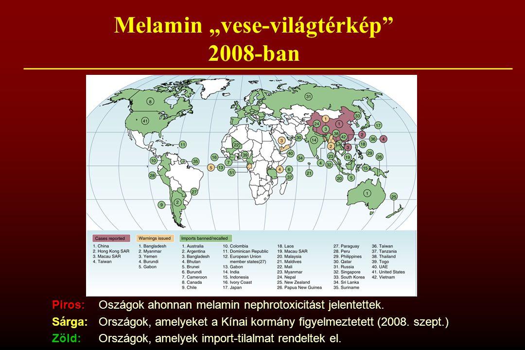 """Melamin """"vese-világtérkép 2008-ban Piros: Oszágok ahonnan melamin nephrotoxicitást jelentettek."""