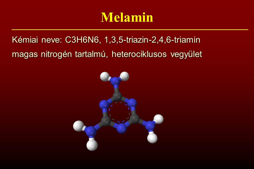 Melamin Kémiai neve: C3H6N6, 1,3,5-triazin-2,4,6-triamin magas nitrogén tartalmú, heterociklusos vegyület