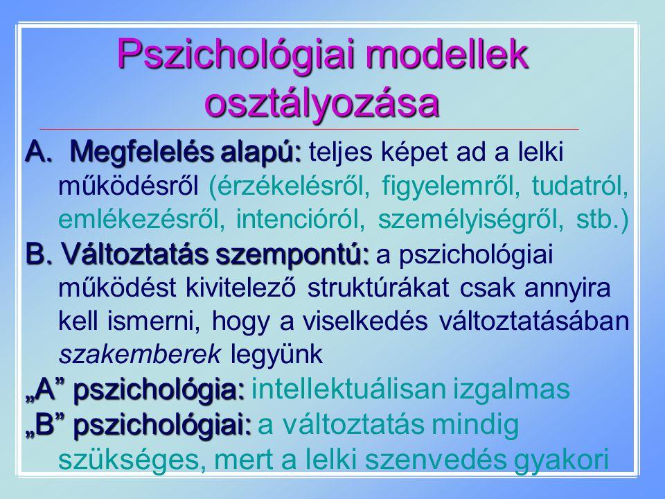 Pszichológiai modellek osztályozása A. Megfelelés alapú: A. Megfelelés alapú: teljes képet ad a lelki működésről (érzékelésről, figyelemről, tudatról,