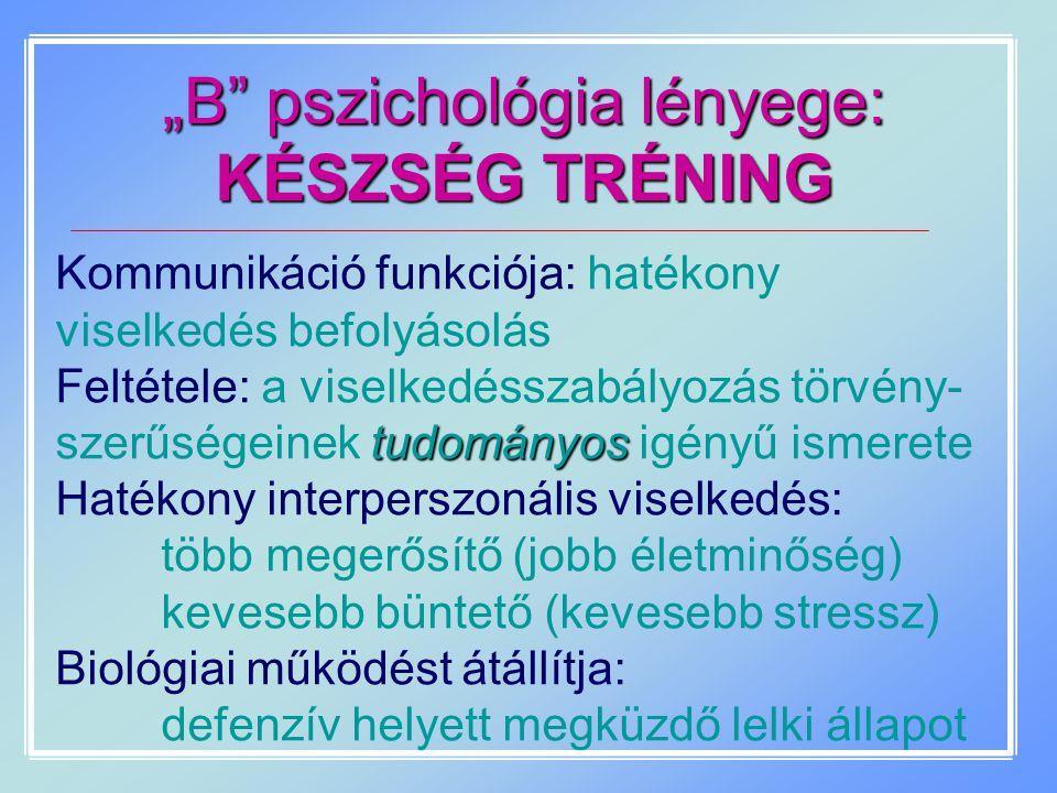 """""""B"""" pszichológia lényege: KÉSZSÉG TRÉNING Kommunikáció funkciója: hatékony viselkedés befolyásolás tudományos Feltétele: a viselkedésszabályozás törvé"""