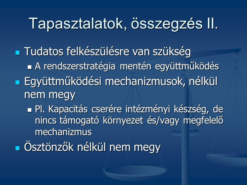 Tapasztalatok, összegzés II. Tudatos felkészülésre van szükség Tudatos felkészülésre van szükség A rendszerstratégia mentén együttműködés A rendszerst
