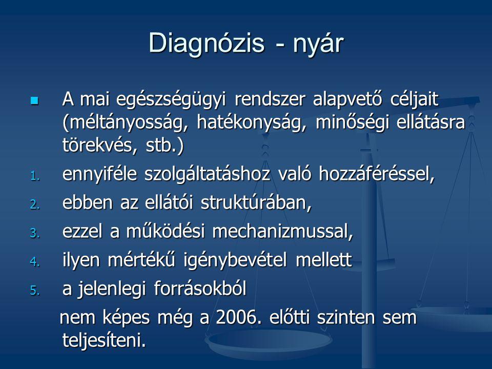 Diagnózis - nyár A mai egészségügyi rendszer alapvető céljait (méltányosság, hatékonyság, minőségi ellátásra törekvés, stb.) A mai egészségügyi rendsz