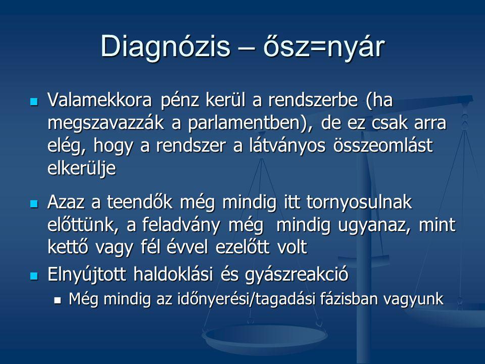 Diagnózis – ősz=nyár Valamekkora pénz kerül a rendszerbe (ha megszavazzák a parlamentben), de ez csak arra elég, hogy a rendszer a látványos összeomlá