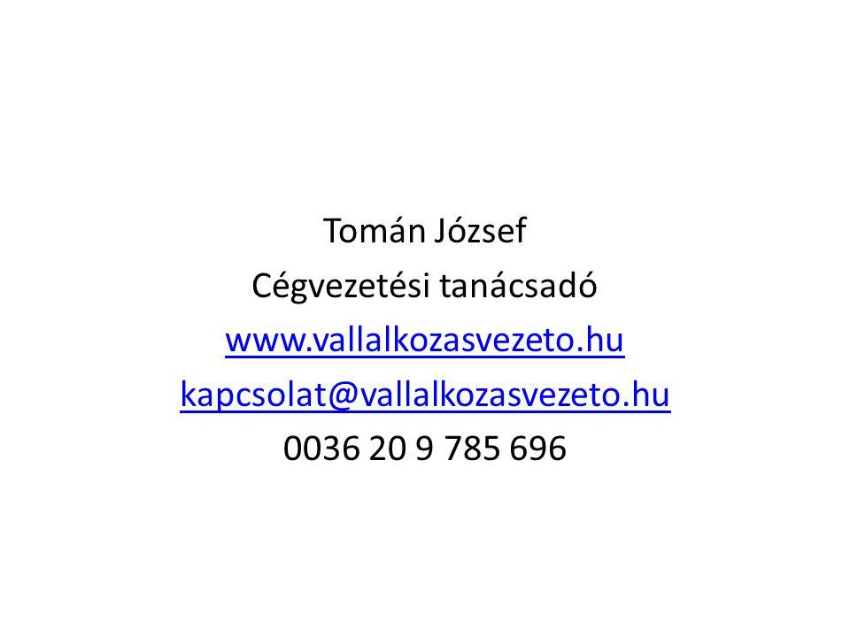 Tomán József Cégvezetési tanácsadó www.vallalkozasvezeto.hu kapcsolat@vallalkozasvezeto.hu 0036 20 9 785 696
