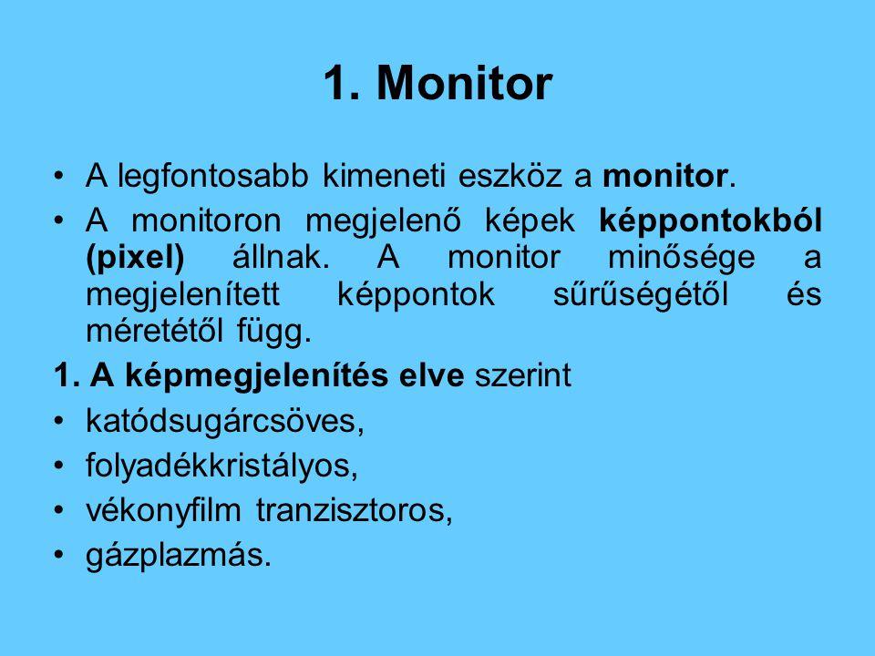1.Monitor A legfontosabb kimeneti eszköz a monitor.