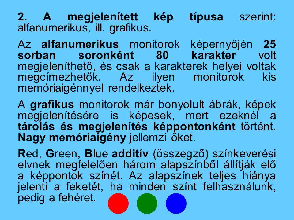 2.A megjelenített kép típusa szerint: alfanumerikus, ill.