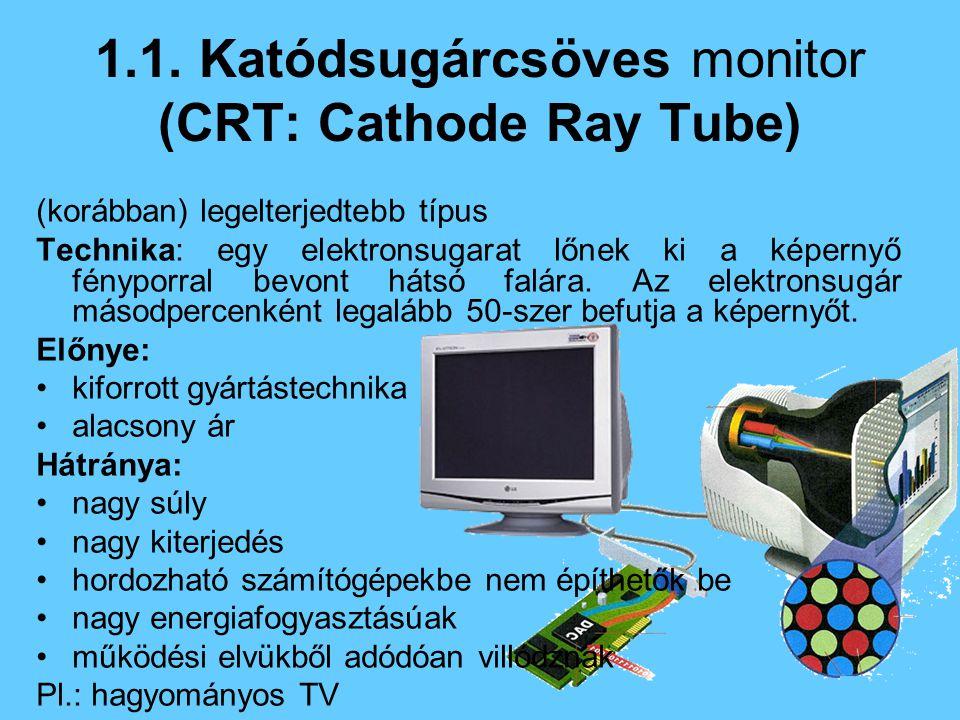 (korábban) legelterjedtebb típus Technika: egy elektronsugarat lőnek ki a képernyő fényporral bevont hátsó falára.