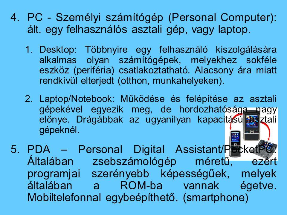 4.PC - Személyi számítógép (Personal Computer): ált.