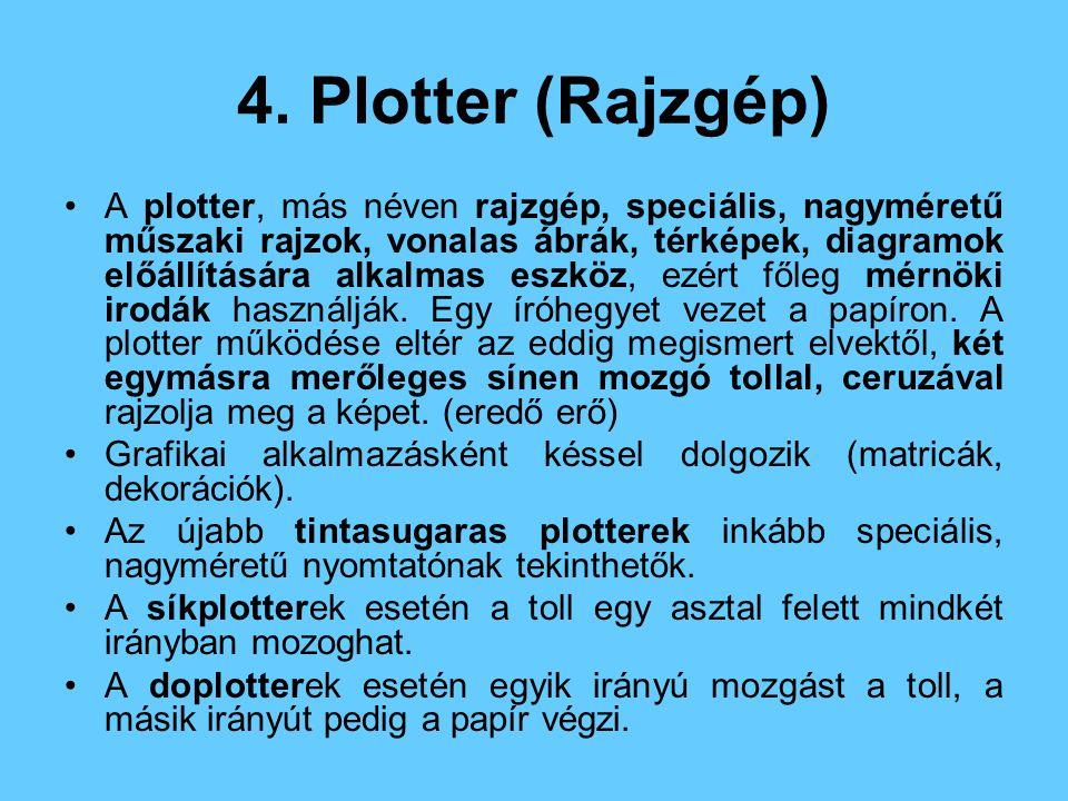 4. Plotter (Rajzgép) A plotter, más néven rajzgép, speciális, nagyméretű műszaki rajzok, vonalas ábrák, térképek, diagramok előállítására alkalmas esz