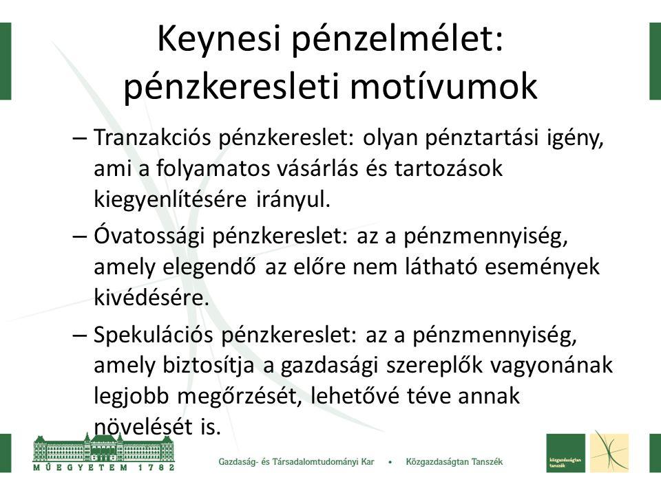 Keynesi pénzelmélet: pénzkeresleti motívumok – Tranzakciós pénzkereslet: olyan pénztartási igény, ami a folyamatos vásárlás és tartozások kiegyenlítés