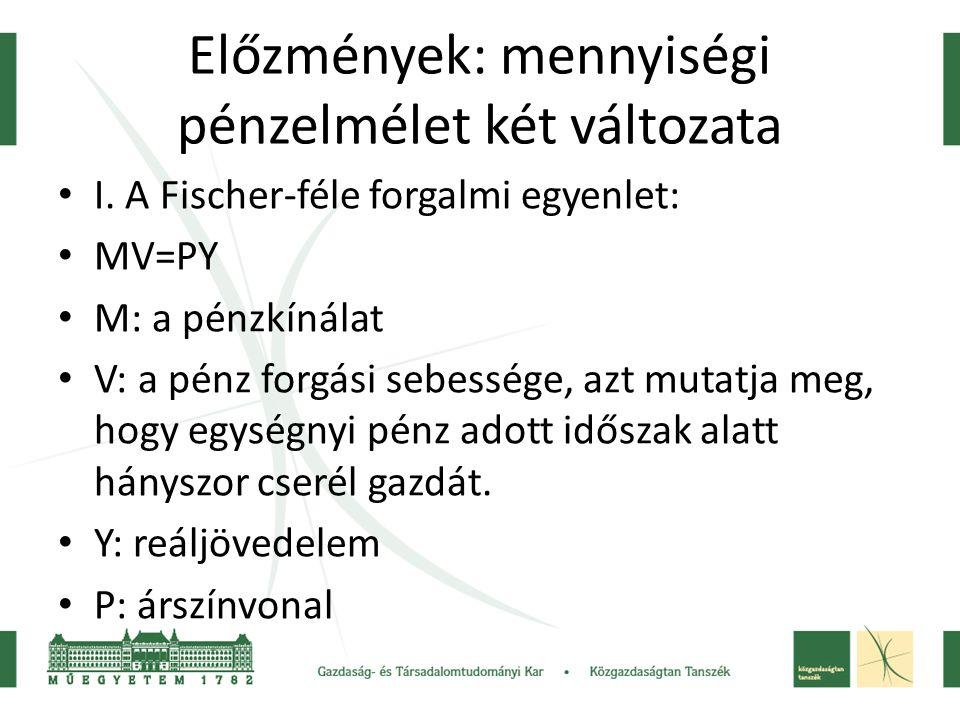 Előzmények: mennyiségi pénzelmélet két változata I. A Fischer-féle forgalmi egyenlet: MV=PY M: a pénzkínálat V: a pénz forgási sebessége, azt mutatja