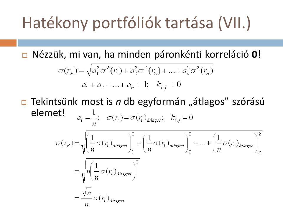 """Hatékony portfóliók tartása (VII.)  Nézzük, mi van, ha minden páronkénti korreláció 0!  Tekintsünk most is n db egyformán """"átlagos"""" szórású elemet!"""