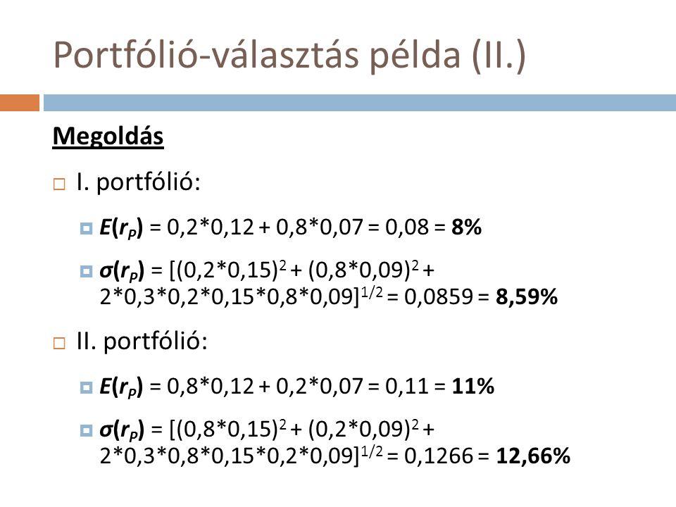 Portfólió-választás példa (II.) Megoldás  I. portfólió:  E(r P ) = 0,2*0,12 + 0,8*0,07 = 0,08 = 8%  σ(r P ) = [(0,2*0,15) 2 + (0,8*0,09) 2 + 2*0,3*