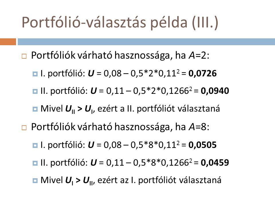 Portfólió-választás példa (III.)  Portfóliók várható hasznossága, ha A=2:  I. portfólió: U = 0,08 – 0,5*2*0,11 2 = 0,0726  II. portfólió: U = 0,11