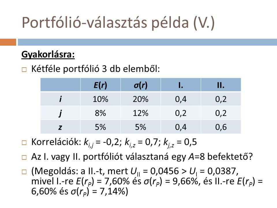 Portfólió-választás példa (V.) Gyakorlásra:  Kétféle portfólió 3 db elemből:  Korrelációk: k i,j = -0,2; k i,z = 0,7; k j,z = 0,5  Az I. vagy II. p