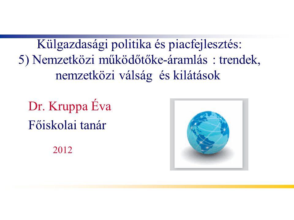 Külgazdasági politika és piacfejlesztés: 5) Nemzetközi működőtőke-áramlás : trendek, nemzetközi válság és kilátások Dr. Kruppa Éva Főiskolai tanár 201