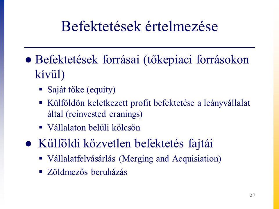 Befektetések értelmezése ● Befektetések forrásai (tőkepiaci forrásokon kívül)  Saját tőke (equity)  Külföldön keletkezett profit befektetése a leány