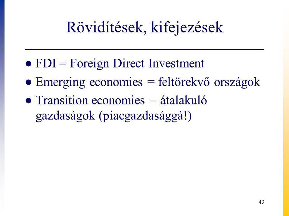 Rövidítések, kifejezések ● FDI = Foreign Direct Investment ● Emerging economies = feltörekvő országok ● Transition economies = átalakuló gazdaságok (p