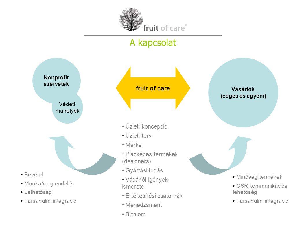 Nonprofit szervetek Vásárlók (céges és egyéni) Védett műhelyek fruit of care Üzleti koncepció Üzleti terv Márka Piacképes termékek (designers) Gyártási tudás Vásárlói igények ismerete Értékesítési csatornák Menedzsment Bizalom Bevétel Munka/megrendelés Láthatóság Társadalmi integráció Minőségi termékek CSR kommunikációs lehetőség Társadalmi integráció A kapcsolat
