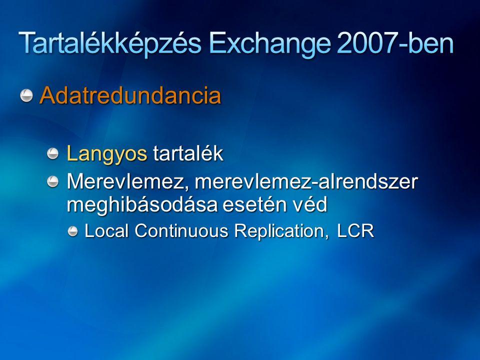 Adatredundancia Langyos tartalék Merevlemez, merevlemez-alrendszer meghibásodása esetén véd Local Continuous Replication, LCR