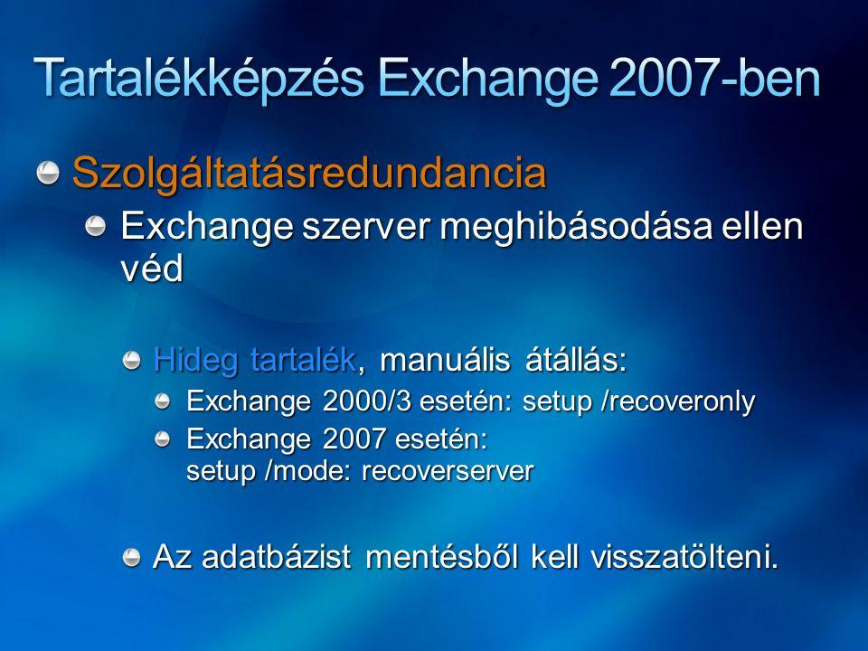 Szolgáltatásredundancia Exchange szerver meghibásodása ellen véd Hideg tartalék, manuális átállás: Exchange 2000/3 esetén: setup /recoveronly Exchange 2007 esetén: setup /mode: recoverserver Az adatbázist mentésből kell visszatölteni.