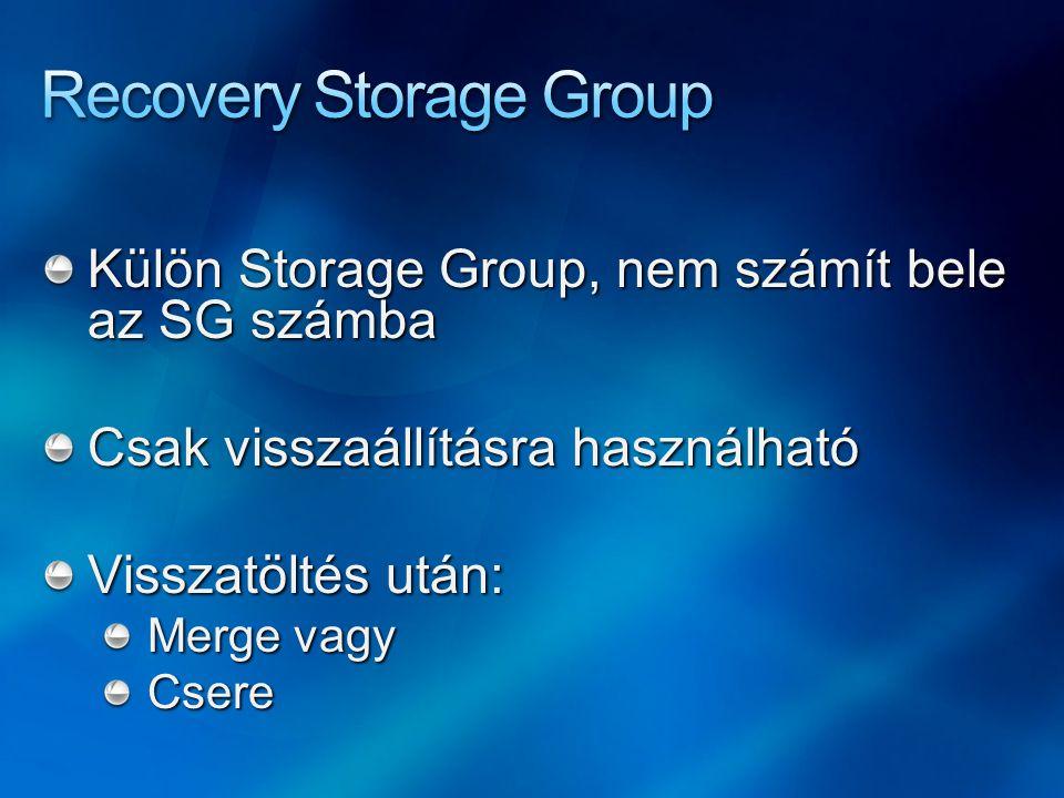 Külön Storage Group, nem számít bele az SG számba Csak visszaállításra használható Visszatöltés után: Merge vagy Csere