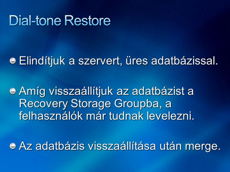 Elindítjuk a szervert, üres adatbázissal. Amíg visszaállítjuk az adatbázist a Recovery Storage Groupba, a felhasználók már tudnak levelezni. Az adatbá