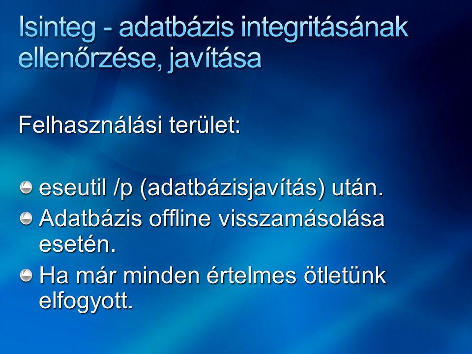 Felhasználási terület: eseutil /p (adatbázisjavítás) után.
