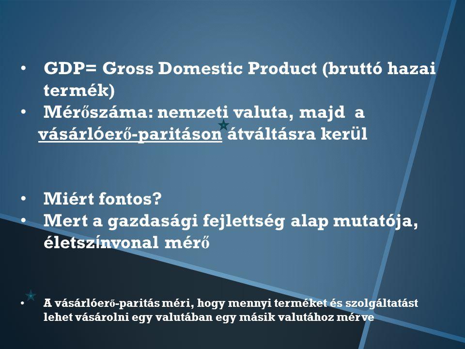 GDP= Gross Domestic Product (bruttó hazai termék) Mér ő száma: nemzeti valuta, majd a vásárl ó er ő -paritáson átváltásra ker ü l Miért fontos.